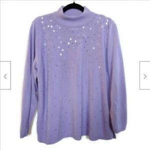 Quaker Factory lavender mock neck sweater